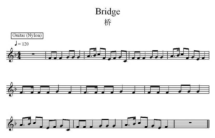 桥 电子琴谱 曲谱库