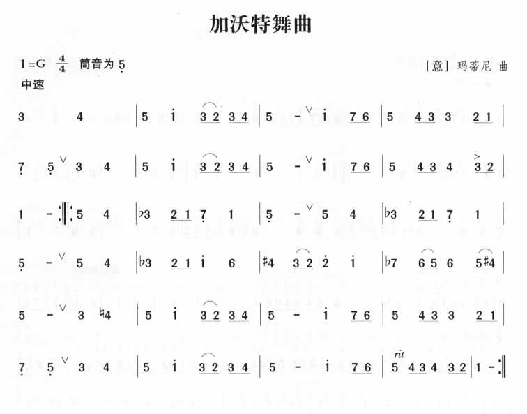 下载:加沃特舞曲笛子(箫)曲谱(图1)-加沃特舞曲