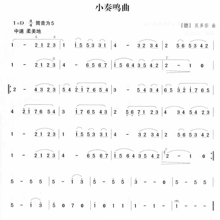 贝多芬)笛子(箫)曲谱(图1)-小奏鸣曲 贝多芬