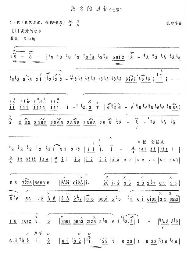 下载:故乡的回忆(七级)笛子(箫)曲谱(图1)