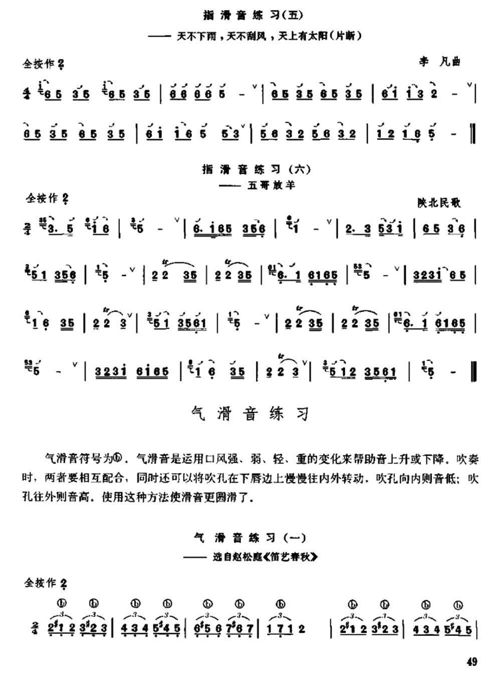 下载:笛子滑音练习笛子(箫)曲谱(图3)-笛子滑音练习