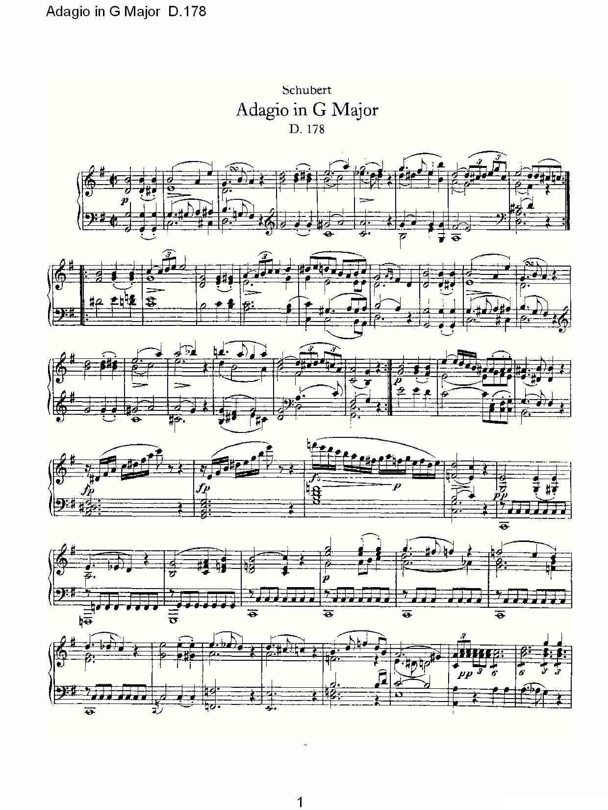 三套车d调歌谱-.178)钢琴曲谱(图1)-Adagio in G Major D.178O G大调柔板D.178