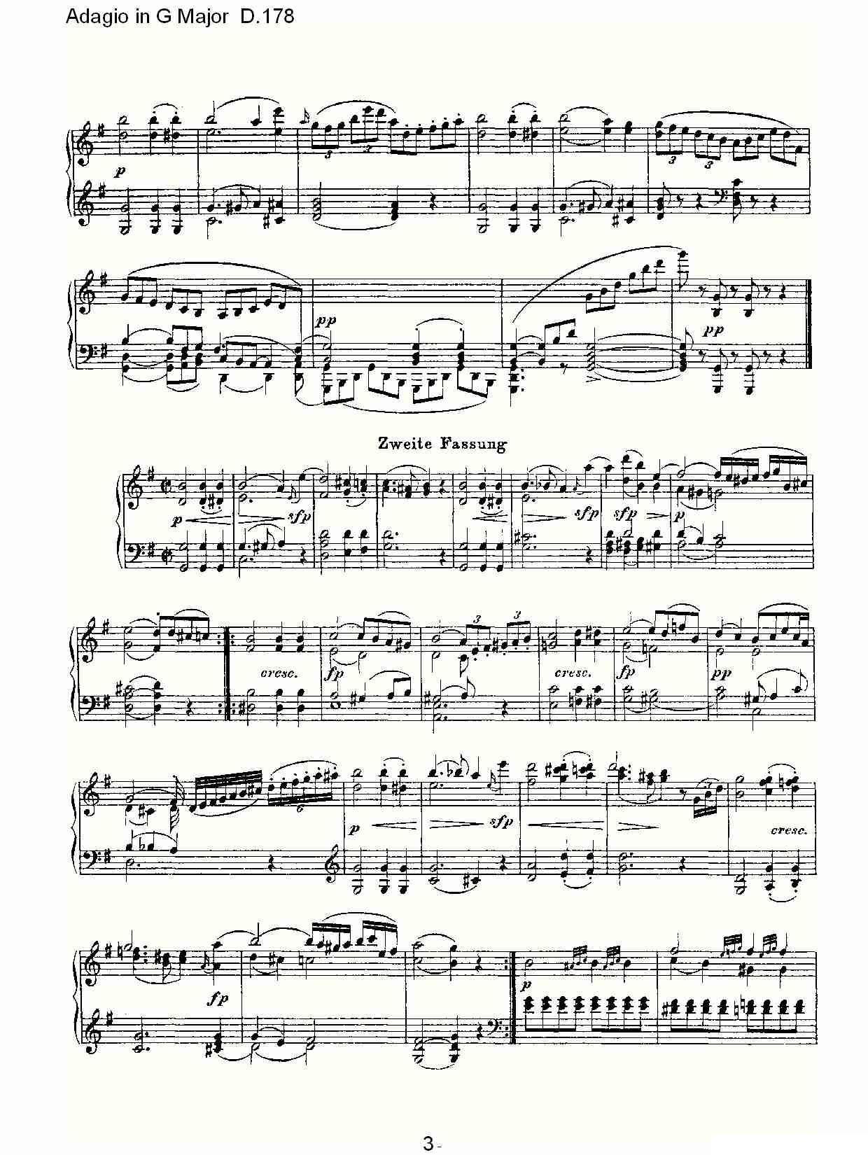.178O(G大调柔板D.178)钢琴曲谱(图3)-Adagio in G Major D.178O