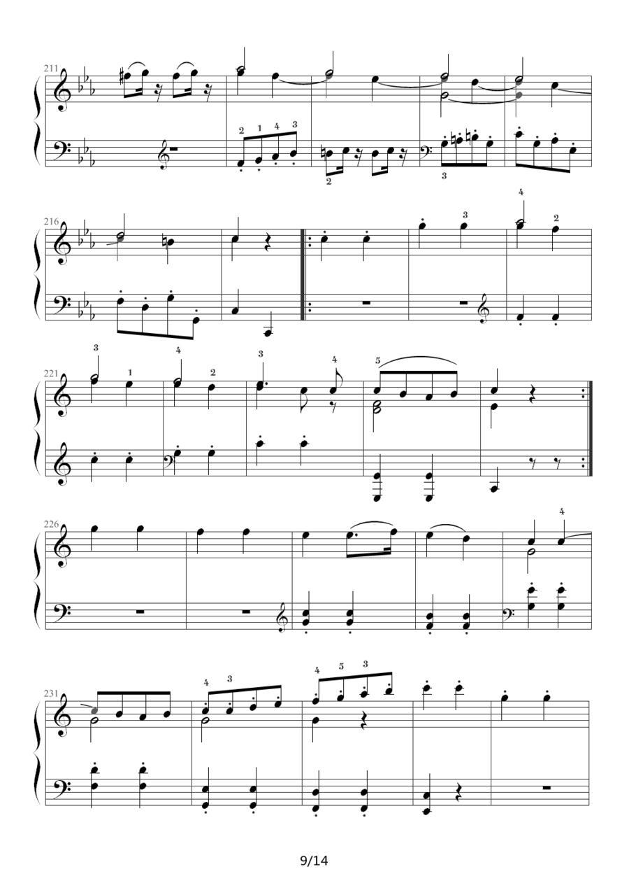 下载:小星星变奏曲 K.265 带指法(Mozart.莫扎特)钢琴曲谱(图9)-