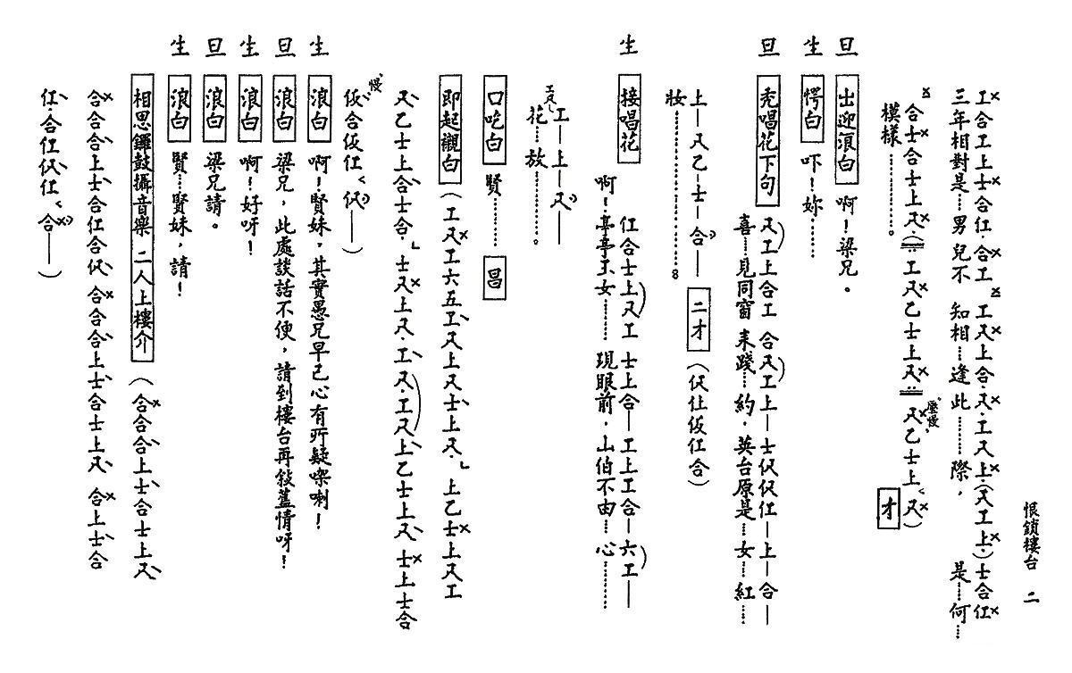 [粤曲]新梁祝之恨锁楼台(工尺谱)简谱(图2)
