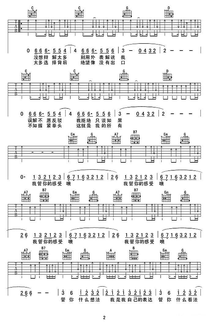 我管你吉他谱(图2)