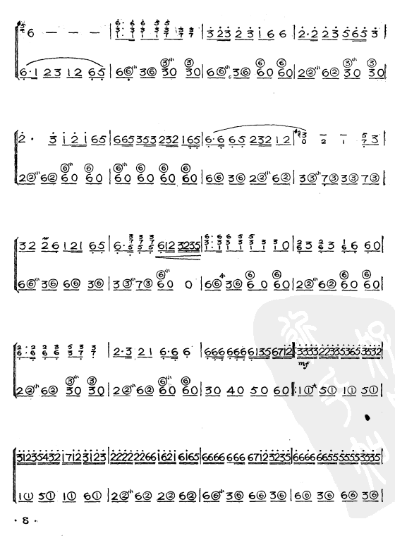 阿里山的姑娘(简谱版)手风琴曲谱(图2)