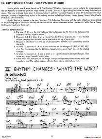 RHYTHM CHANGES - WHAT'S THE WORD?